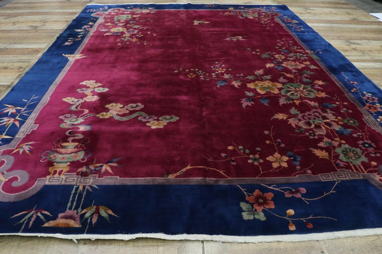 Early 20th Century Antique Chinese Art Deco Rug For Sale 2