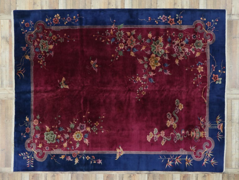 Early 20th Century Antique Chinese Art Deco Rug For Sale 3