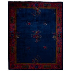 Early 20th Century Antique Chinese Art Deco Wool Rug