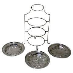 Early 20th Century Antique Edwardian Silver Plated 3-Tier Cake Stand, circa 1900