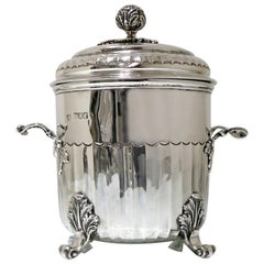 Early 20th Century Antique Edwardian Sterling Silver Biscuit Box London, 1904
