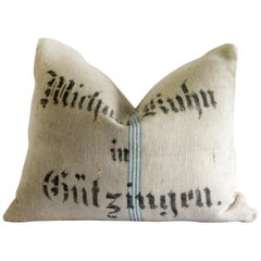 Early 20th Century Antique European Grainsack Pillow with Lettering