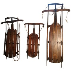Early 20th Century Antique Flexible Flyer Sleds 3 Sizes