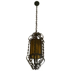 Early 20th Century Antique Glass & Metal Lantern from France