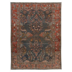 Early 20th Century Antique Gray Mahal Wool Rug