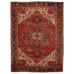 Early 20th Century Antique Heriz Wool Rug