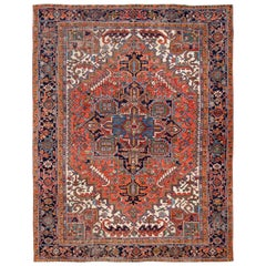 Early 20th Century Antique Heriz Wool Rug