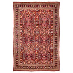 Early 20th Century Antique Mahal Oversize Wool Rug