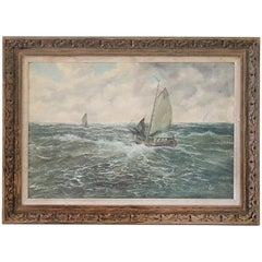 Early 20th Century Antique Oil Painting of a Sailboat by Berk