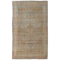 Early 20th Century Antique Persian Bibikabad Rug in Blue Background
