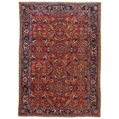Early 20th Century Antique Persian Heriz Rug
