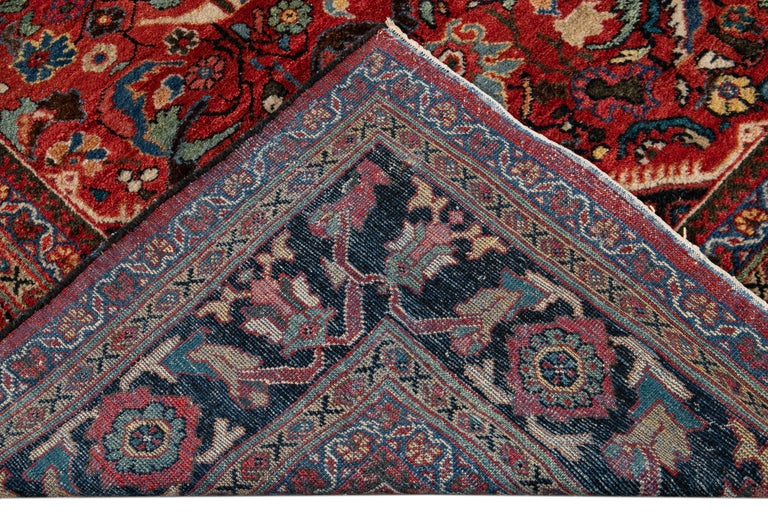 Early 20th Century Antique Persian Mahal Oversize Wool Rug For Sale 6