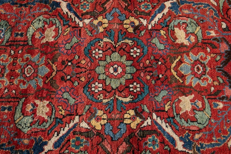 Early 20th Century Antique Persian Mahal Oversize Wool Rug For Sale 7