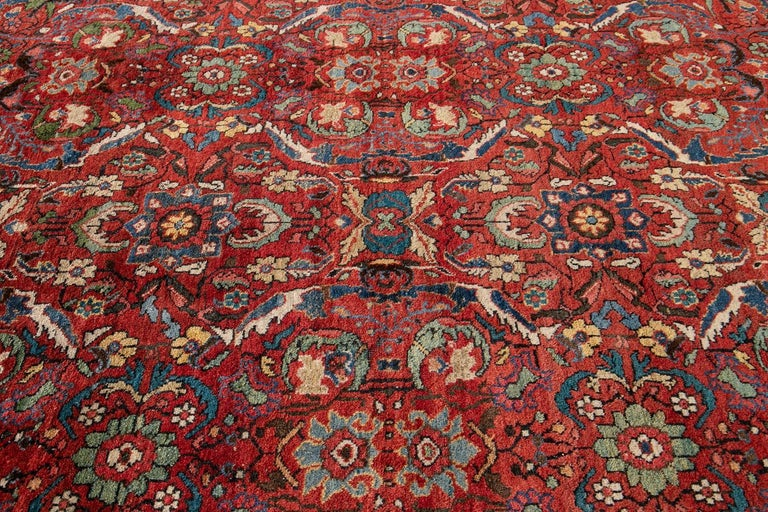 Early 20th Century Antique Persian Mahal Oversize Wool Rug For Sale 8
