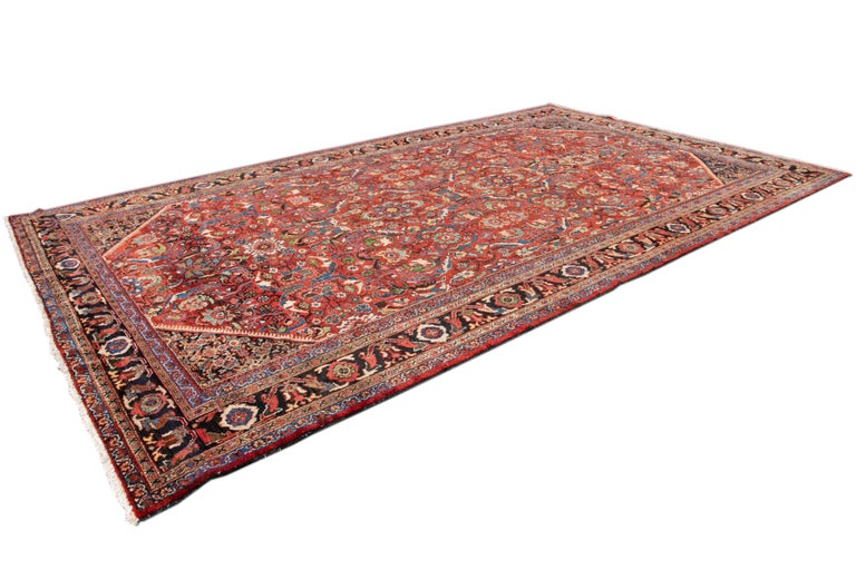 Early 20th Century Antique Persian Mahal Oversize Wool Rug For Sale 1
