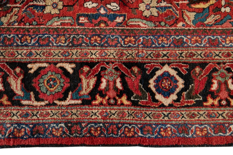 Early 20th Century Antique Persian Mahal Oversize Wool Rug For Sale 3