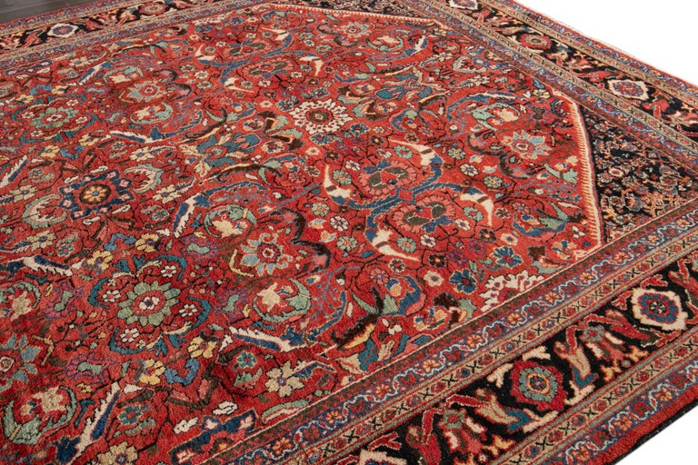 Early 20th Century Antique Persian Mahal Oversize Wool Rug For Sale 4