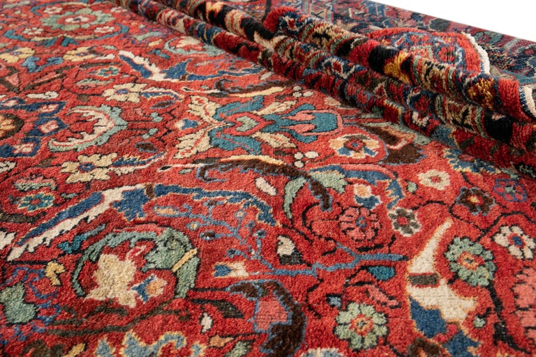 Early 20th Century Antique Persian Mahal Oversize Wool Rug For Sale 5