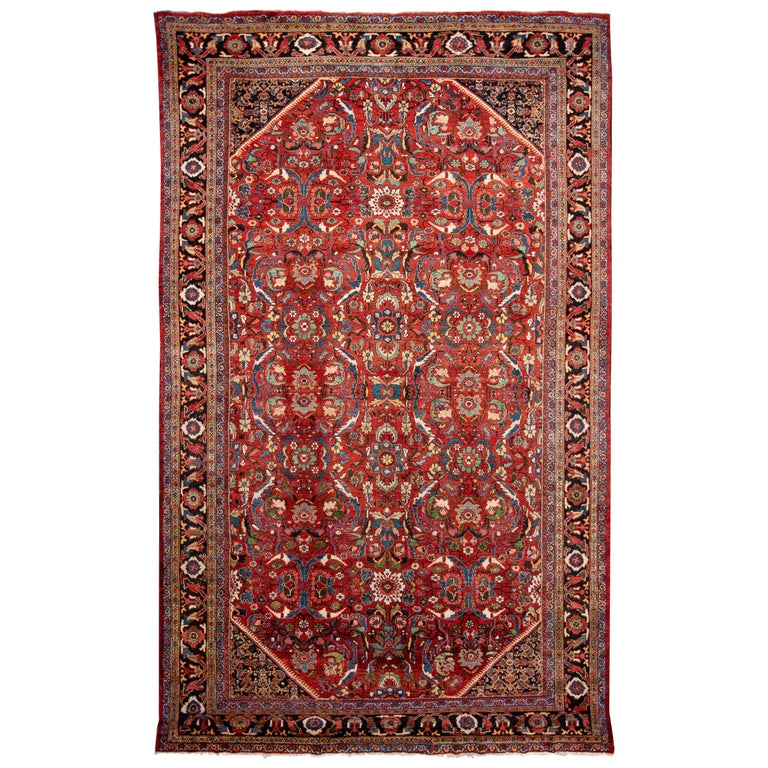 Early 20th Century Antique Persian Mahal Oversize Wool Rug For Sale