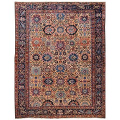Early 20th Century Antique Persian Mahal Wool Rug