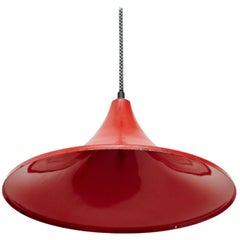 Early 20th Century Antique Red Lacquered Metal Ceiling Lamp