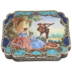 Early 20th Century Antique Silver Enamel Figures in Garden Scene Compact