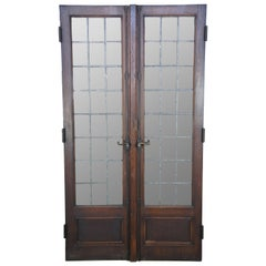 Early 20th Century Antique Solid Oak Leaded Glass Paneled French Doors