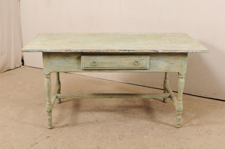 Painted Early 20th Century Antique Swedish Farm-House Table For Sale