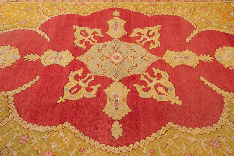 Early 20th Century Antique Turkish Oushak Wool Rug For Sale 6
