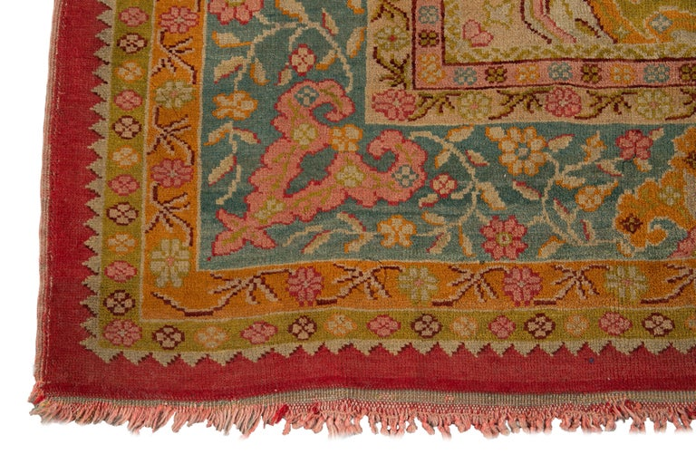 Early 20th Century Antique Turkish Oushak Wool Rug For Sale 8