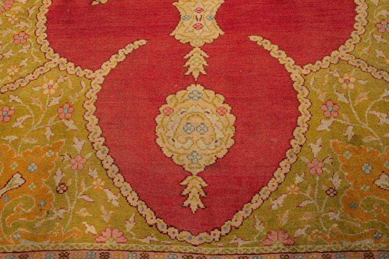 Early 20th Century Antique Turkish Oushak Wool Rug For Sale 9