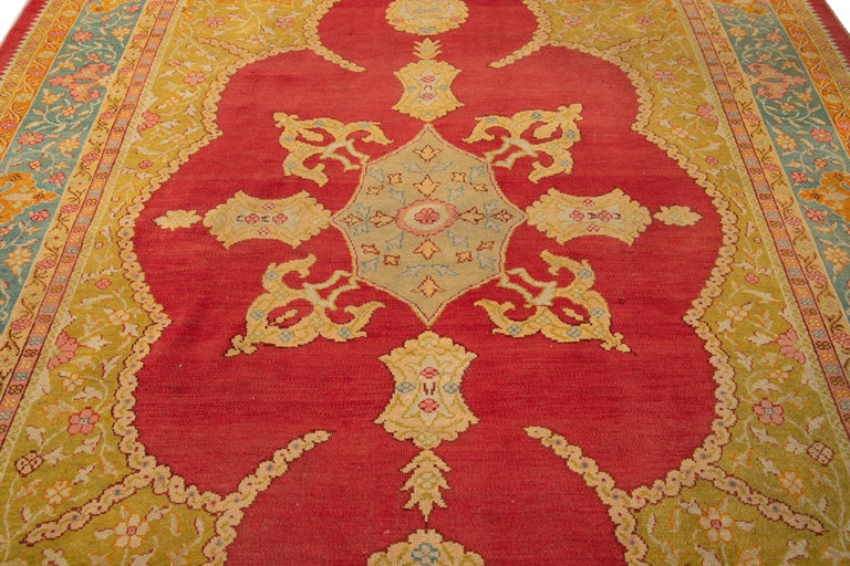 Early 20th Century Antique Turkish Oushak Wool Rug For Sale 10