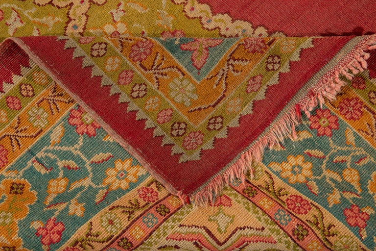 Hand-Knotted Early 20th Century Antique Turkish Oushak Wool Rug For Sale