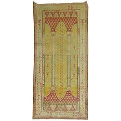 Early 20th Century Antique Turkish Yellow Prayer Scrolle Niche Rug