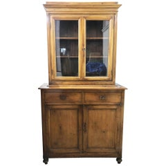 Early 20th Century Antique Tuscan Fir Showcase, Restored, Wax Polished