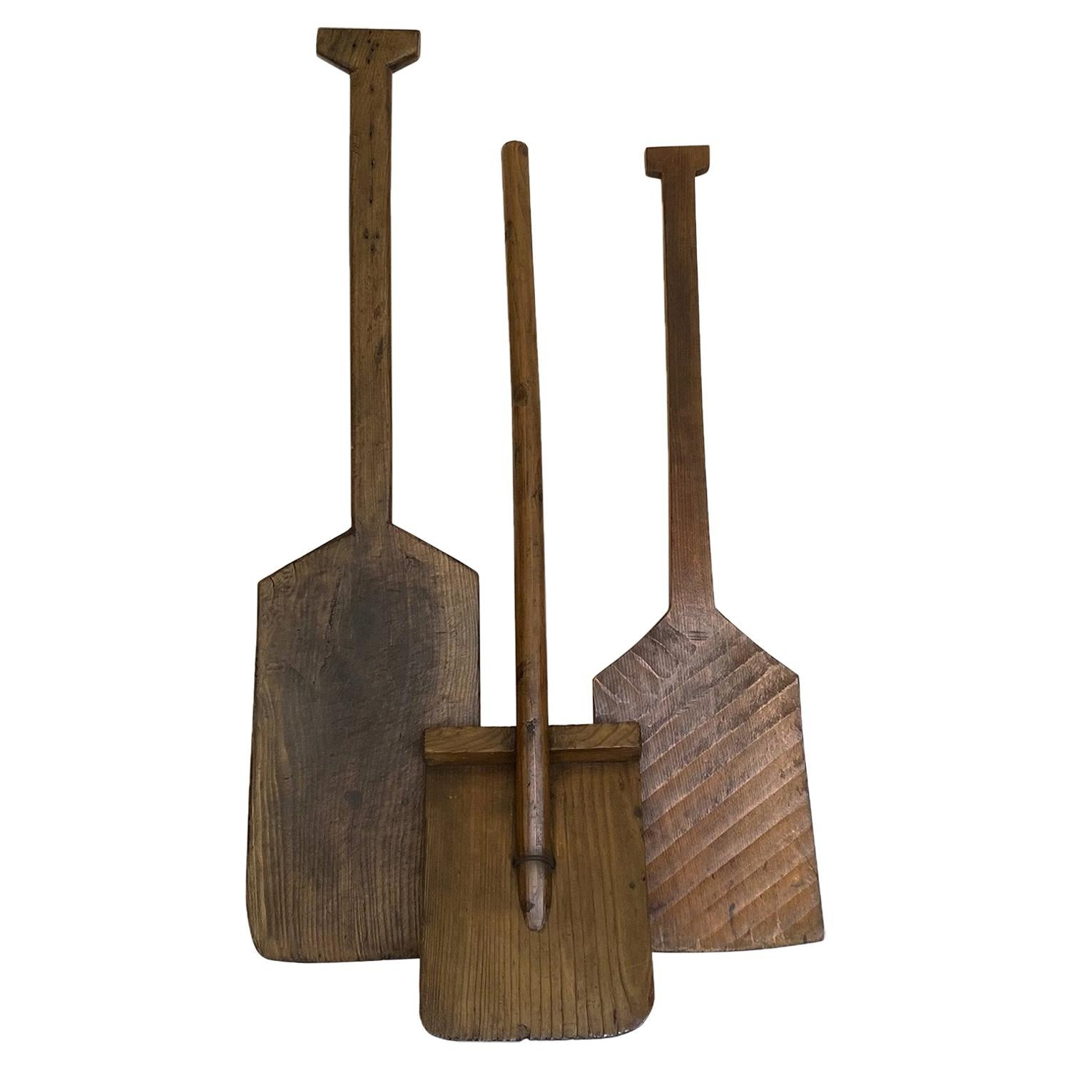Early 20th Century Antique Wood Snow Shovels, Japan, Set of Three '3'
