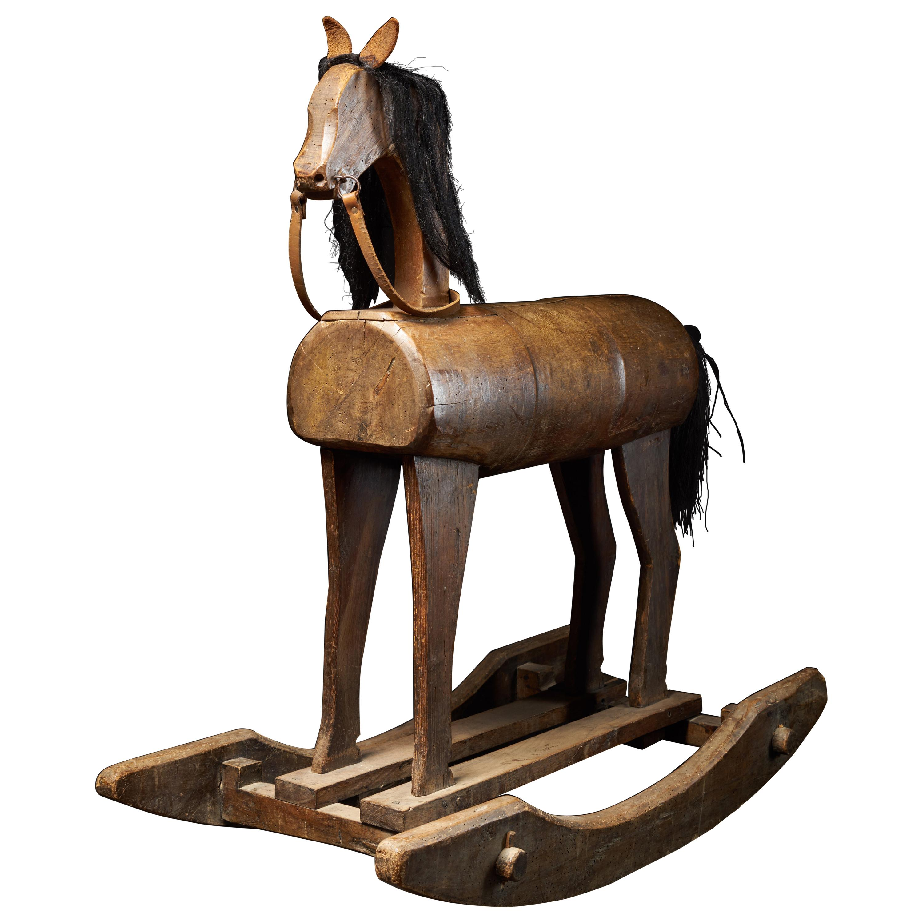 Early 20th Century, Antique Wooden Rocking Horse