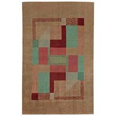 Early 20th Century Art Deco Beige, Green, Pink and Maroon Handmade Wool Rug