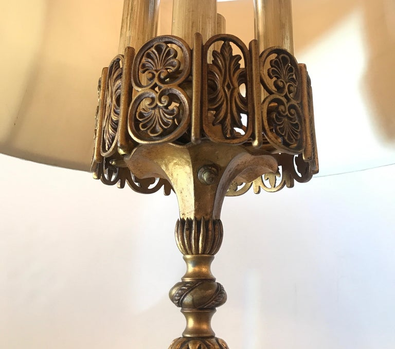 Early 20th Century Art Deco Bronze and Marble Floor Lamp by Oscar Bach For Sale 1
