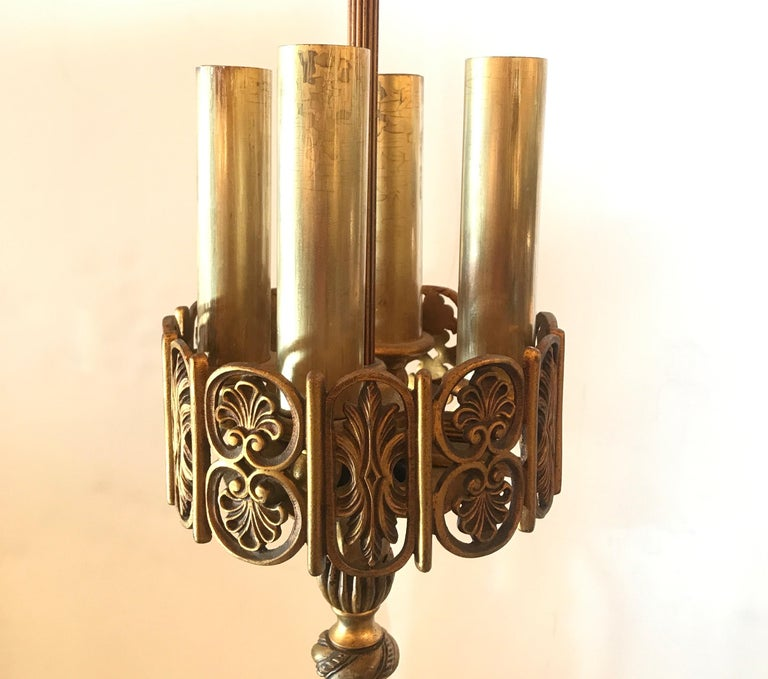 Early 20th Century Art Deco Bronze and Marble Floor Lamp by Oscar Bach For Sale 2