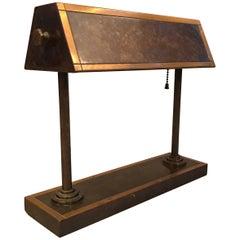 Early 20th Century Art Deco Brass Bank Desk Lamp