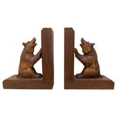 Early 20th Century Art Deco Era Bookends with Hand Carved Bear Sculptures
