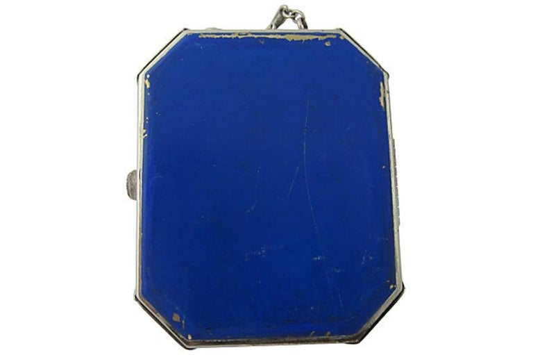 Gray Early 20th Century Art Deco Floral Guilloche Enamel Compact For Sale