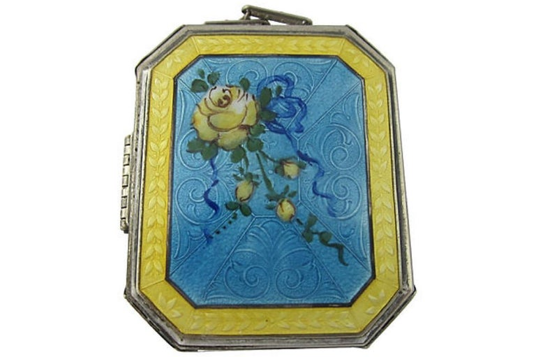 Women's Early 20th Century Art Deco Floral Guilloche Enamel Compact For Sale