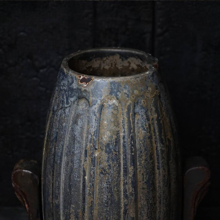 Early 20th Century Art Deco French Enamel Cast Iron Cemetery Vase For Sale 3