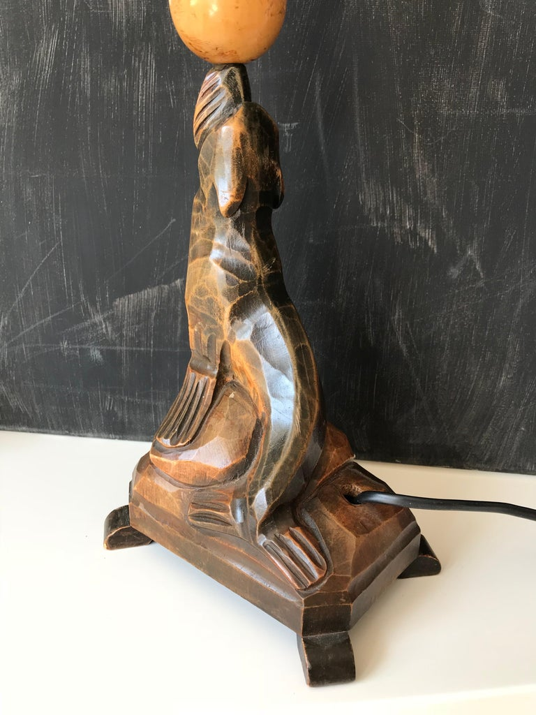 Early 20th Century Art Deco Hand Carved Wooden Seal, Sea Lion Table or Desk Lamp For Sale 6