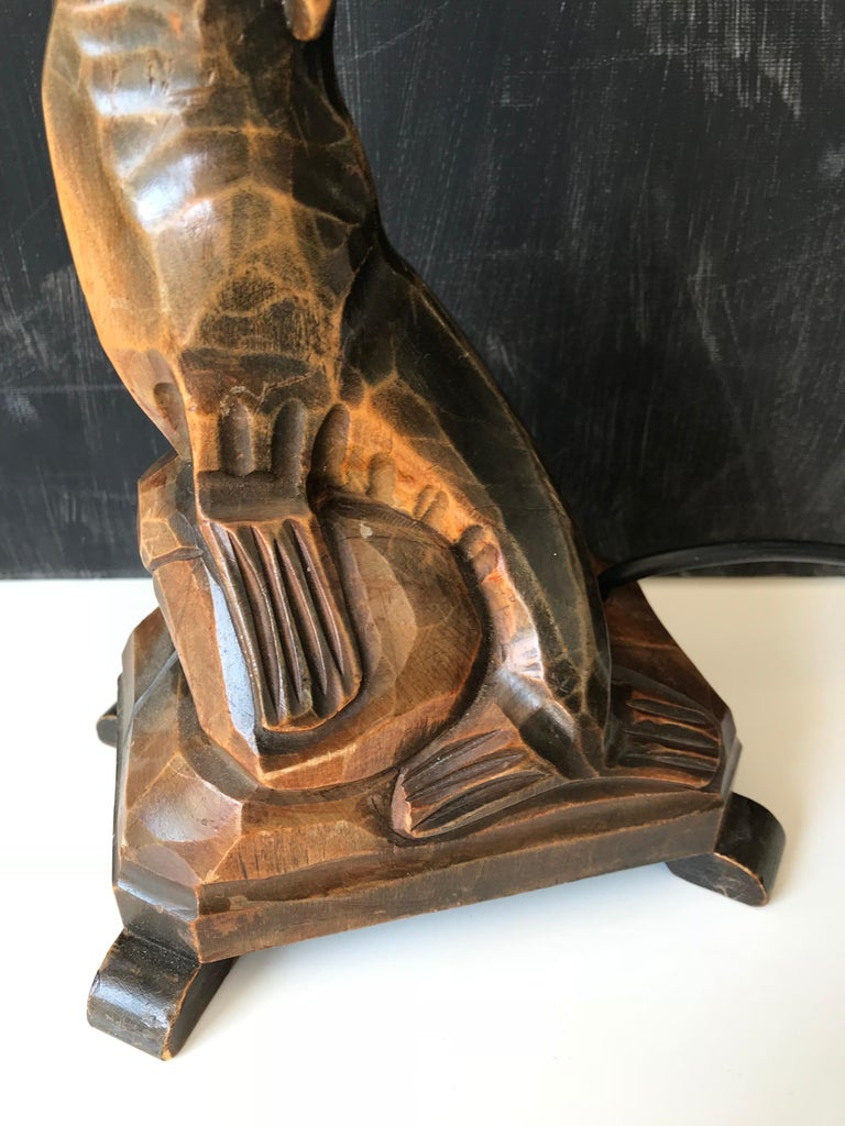 Hand-Carved Early 20th Century Art Deco Hand Carved Wooden Seal, Sea Lion Table or Desk Lamp For Sale