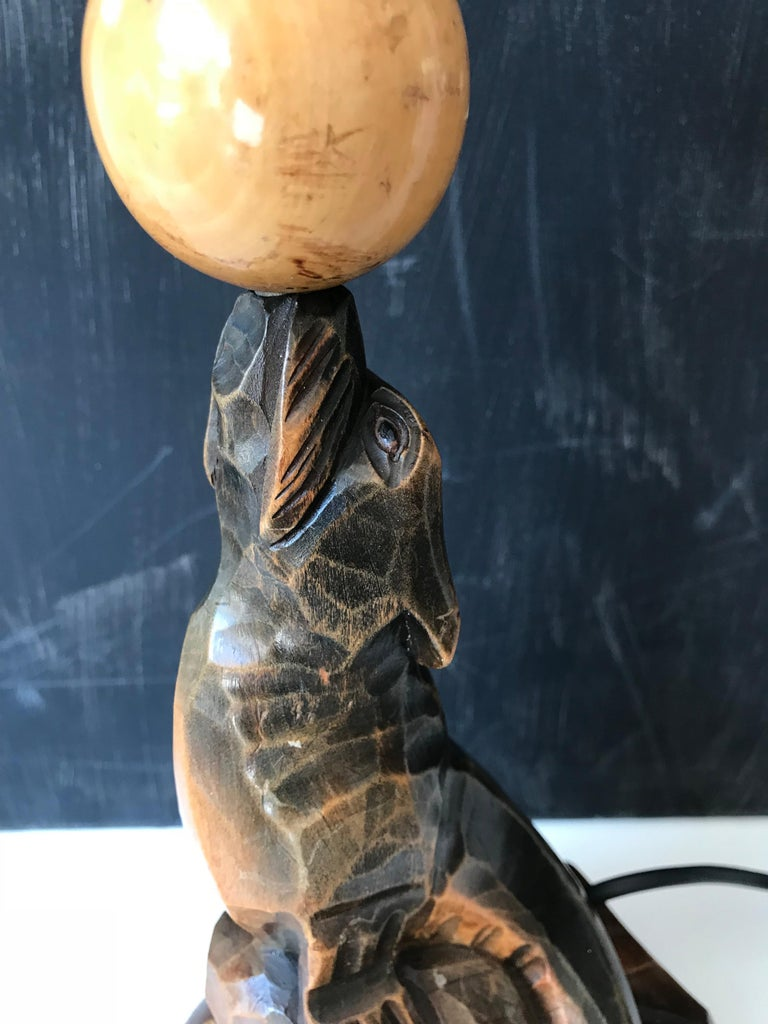 Early 20th Century Art Deco Hand Carved Wooden Seal, Sea Lion Table or Desk Lamp For Sale 2