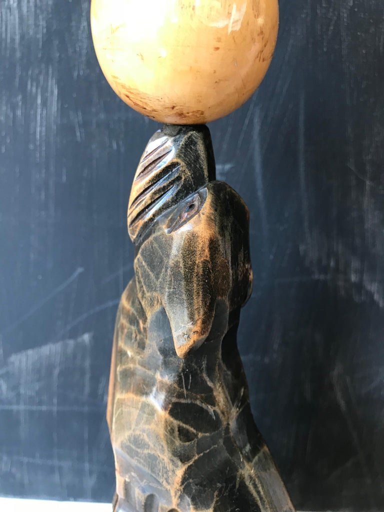 Early 20th Century Art Deco Hand Carved Wooden Seal, Sea Lion Table or Desk Lamp For Sale 4