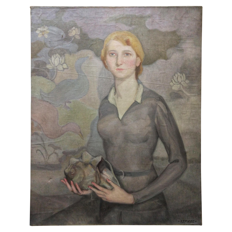 Other Antique Decorative Arts Oil On Canvas Large Art Deco Style Portrait Of Two Ladies Decorative Arts